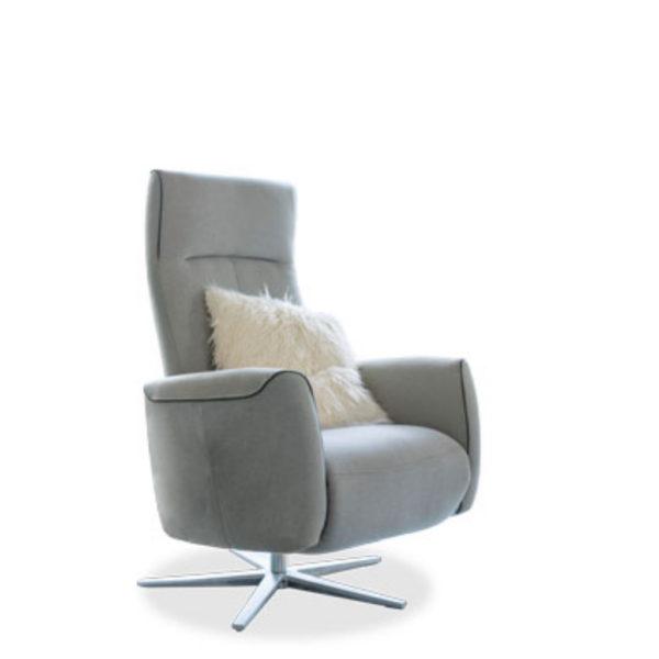 Sessel aus Stoff mit Sternfuss aus Edelstahl oder Metall