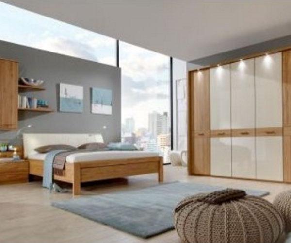 Schlafzimmer teilmassiv Eiche/Glas