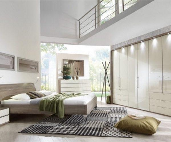 Schlafzimmer Eiche-sägerau-Nachbildung, Glasfront Magnolie