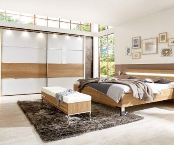 Schlafzimmer Eiche/Glas, mit Schwebetürenschrank